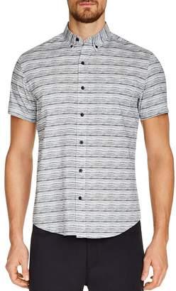 Work Rest Karma Short-Sleeve Textured Stripe-Print Slim Fit Button-Down Shirt