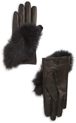 Echo Lambskin Leather Touchscreen Gloves with Genuine Fox Fur Trim