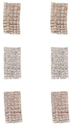 Free Press Pave Stud Earrings - Set of 3