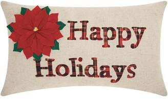 """Nourison Home For The Holiday Happy Holidays Throw Pillow, 12"""" x 20"""", Natural"""
