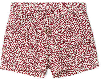 Anine Bing Ashley Printed Washed-silk Pajama Shorts - Red