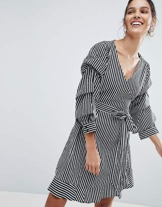 Vila stripe mini wrap dress