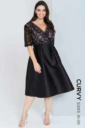 Little Mistress Curvy Black Lace Dress With Full Skirt