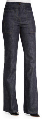 Derek Lam High-Waist Wide-Leg Denim Trousers, Indigo