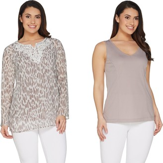 Belle By Kim Gravel Belle by Kim Gravel Embroidered Animal Print Top with Tank