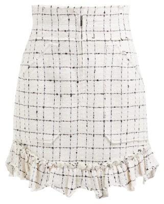 Rebecca Taylor Ruffle Hem Cotton Blend Tweed Boucle Skirt - Womens - Ivory