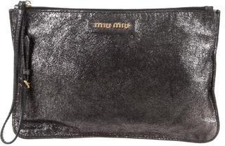 Miu MiuMiu Miu Metallic Leather Wristlet