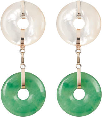 Loren Stewart Jade and Pearl Drop Earrings