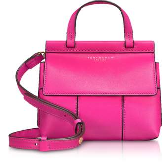 Tory Burch Genuine Leather Block-T Mini Satchel Bag