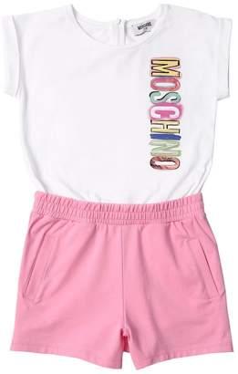 Moschino Logo Print Cotton Jersey Jumpsuit