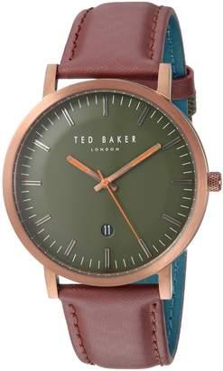 Ted Baker Men's 'DAVID' Quartz Stainless Steel and Leather Casual Watch, Color:Red (Model: TE15193002)