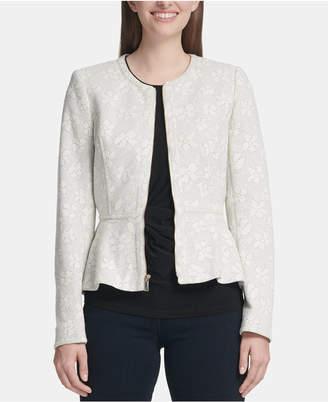 DKNY Floral-Print Zip-Up Peplum Jacket