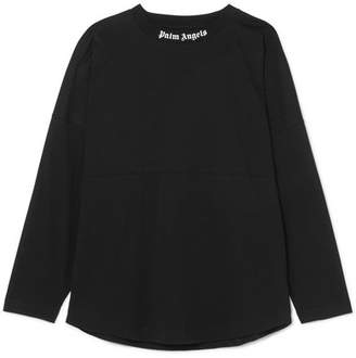 Palm Angels Oversized Printed Cotton-jersey Top - Black