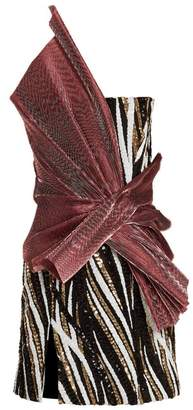 HALPERN Asymmetric sequin-embellished strapless mini dress