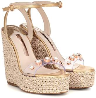a76005a944 Sophia Webster Dina leather-trimmed wedge espadrilles
