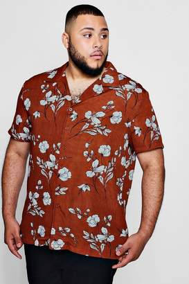 boohoo Big And Tall Large Floral Revere Collar Shirt