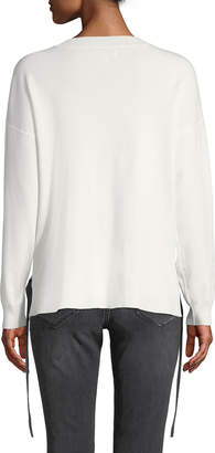 Nicole Miller New York Side Tie Long-Sleeve Pullover Sweater
