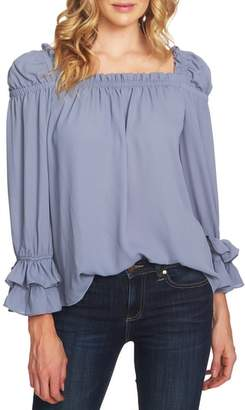 CeCe Square Neck Ruffle Blouse