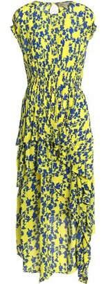 Preen Line Ruffled Floral-Print Crepe De Chine Midi Dress