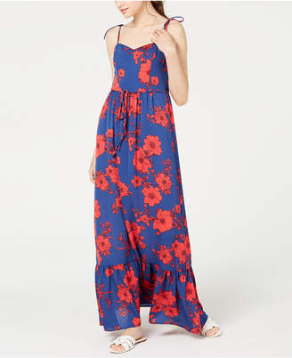 Teeze Me Juniors' Floral-Print Flounce Maxi Dress