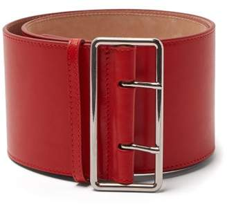 Alexander McQueen Military Wide Leather Belt - Womens - Red