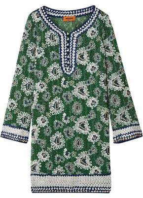 Missoni Embroidered Metallic Crochet-Knit Mini Dress