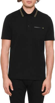 Versace Men's Greek Key-Trim Polo Shirt