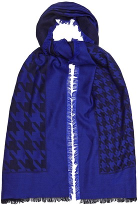 Reiss Millie - Lambswool Dogtooth Checked Scarf in Cobalt