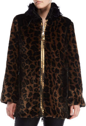 Save The Queen Leopard Print Feather Trim Faux Fur Jacket