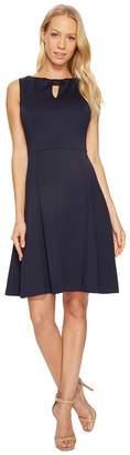 Ellen Tracy A-Line Scuba Dress with Keyhole Detail Women's Dress