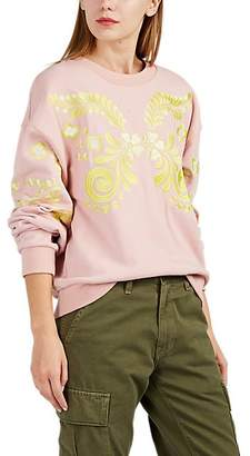 Cynthia Rowley WOMEN'S BLEECKER EMBROIDERED FRENCH TERRY SWEATSHIRT - PINK SIZE L