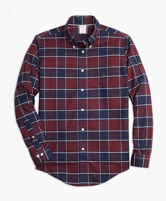 Brooks Brothers Non-Iron Madison Fit Burgundy Plaid Sport Shirt