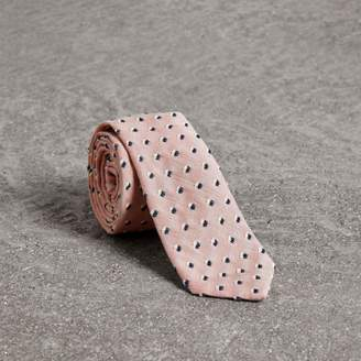 Burberry Slim Cut Chenille Dot Cotton Silk Tie