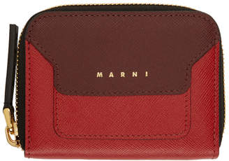 Marni Red Small Colorblocked Zip Wallet
