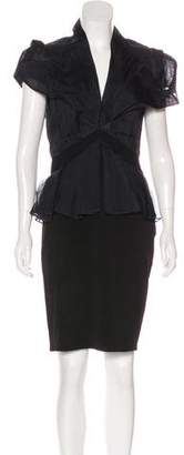 Zac Posen Ruffle-Accented Knee-Length Dress