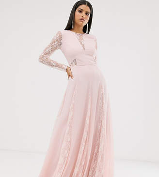 Asos Design DESIGN Tall maxi dress with long sleeve and lace paneled bodice