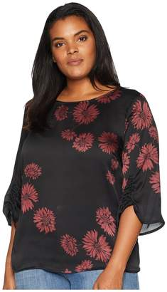 Vince Camuto Specialty Size Plus Size Gathered Sleeve Boat Neck Chateau Floral Blouse Women's Blouse