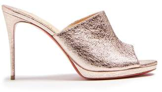 Christian Louboutin Pigamule 105 Crinkled Effect Leather Mules - Womens - Rose Gold