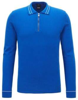BOSS Hugo Zipper-neck polo sweater in Egyptian cotton M Open Blue
