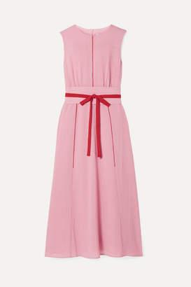 Cefinn - Belted Voile Midi Dress - Blush
