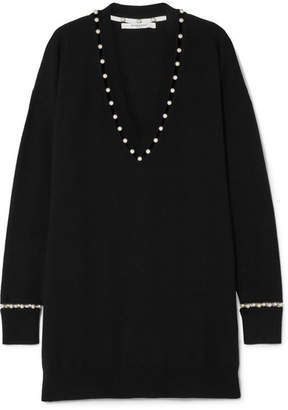 Givenchy Faux Pearl-embellished Wool-blend Sweater - Black