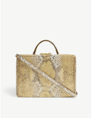 Mark Cross Ladies Gold Grace Python Box Bag