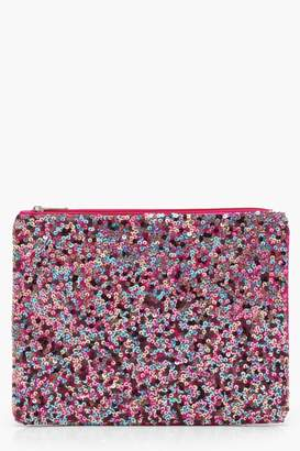 boohoo Hannah Rainbow Sequin Clutch