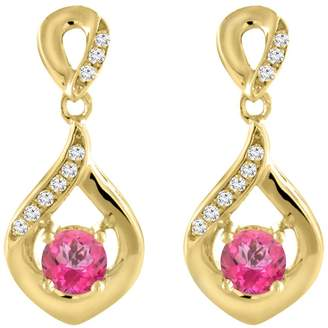 Sabrina Silver 14K Yellow Gold Natural Topaz Earrings with Diamond Accents Round 4 mm