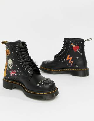 Dr. Martens 1460 Black Leather Rockabilly Flat Ankle Boots