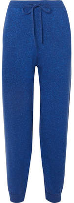 Allude Metallic Wool And Cashmere-blend Track Pants - Navy