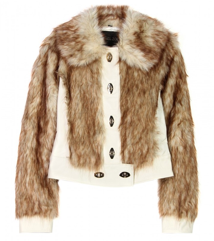 Rachel Zoe LEATHER AND FAUX-FUR JACKET