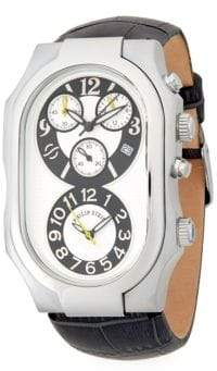Philip Stein Teslar Oval Stainless Steel Chronograph Leather Strap Watch