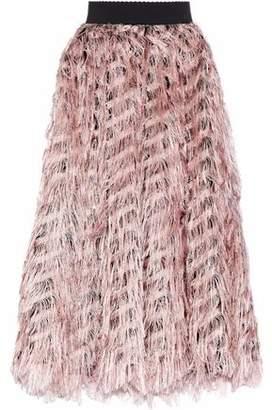 Dolce & Gabbana Metallic Fringed Organza Midi Skirt