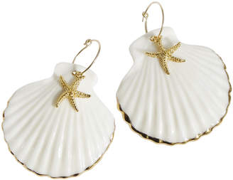 Poporcelain Golden Edge Clam Shell & Starfish Hoop Earrings